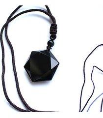 czarny obsydian wisiorek heksagonalny