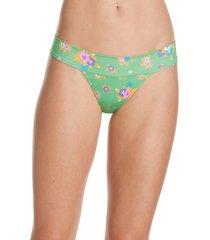 women's frankies bikinis nick floral bikini bottoms, size large - green