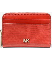 mk portafoglio piccolo bicolore in pelle stampa lucertola - arancio ramato (arancio) - michael kors