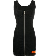 heron preston zip-up dress - black