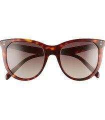 celine 53mm gradient cat eye sunglasses in dark havana/brown at nordstrom