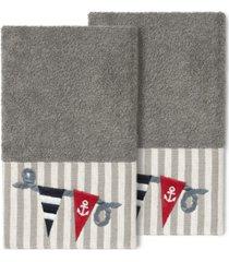 linum home 100% turkish cotton ethan 2-pc. embellished hand towel set bedding