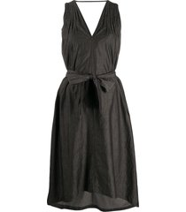 brunello cucinelli belted chambray dress - grey