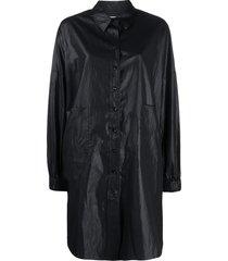 ymc oversized patch pocket shirt dress - black