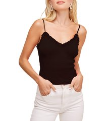 women's astr the label mika tie back camisole, size large - black