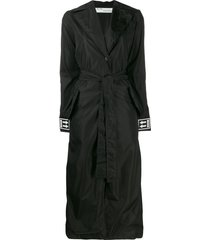off-white cuff logo belted trench coat - black