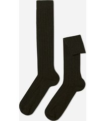 calzedonia long ribbed socks with wool and cashmere man green size 44-45