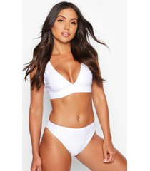 mix & match plunge bikini top, white