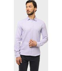 camisa casual texturada lila arrow