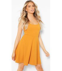 belted strappy skater dress, mustard