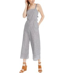 speechless juniors' striped tie-back jumpsuit