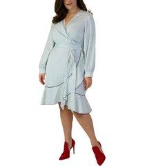 plus size women's maree pour toi polka dot long sleeve wrap dress