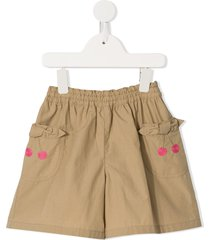 familiar cherry embroidered shorts - neutrals