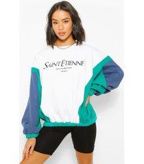colour block sweater met tekst, wit