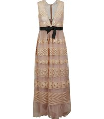red valentino belted v-neck lace dress