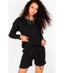 womens knit's all about you sweater and shorts set - black