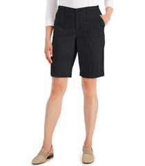 karen scott utility-pocket stretch-waist shorts, created for macy's