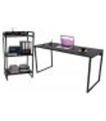 kit mesa para escritório com estante office estilo industrial form c01 150 cm preto onix - lyam decor