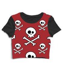 blusa blusinha cropped tshirt camiseta caveira skull vermelha vermelho
