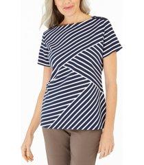 karen scott petite asymmetrical-stripe top, created for macy's