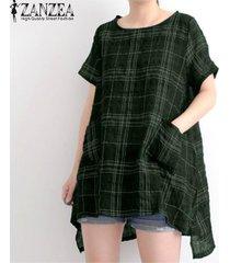 zanzea las mujeres del verano de manga corta camiseta básica de la camisa de la blusa tamaño plus tapa de la túnica -verde