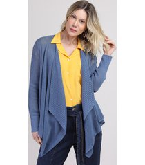 capa de tricô feminina assimétrica azul