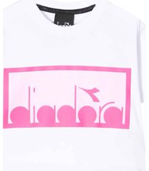 diadora white and pink cropped t-shirt