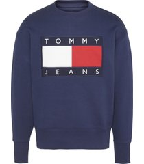 buzo tommy flag crew azul tommy jeans