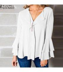 zanzea mujeres llamarada manga de bell más tapa del tamaño camiseta cuello en v blusa de la gasa -blanco