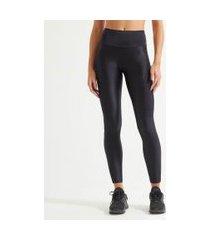 calça legging esportiva com recortes e textura | get over | preto | gg
