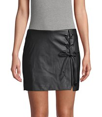 faux leather lace-up skort