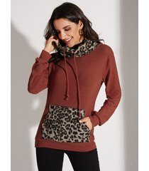 yoins sudadera de leopardo con correa elástica y cuello alto de leopardo de manga larga