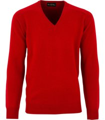 alan paine trui red hampshire classic fit lamswol