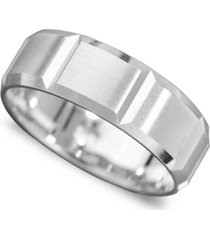men's 14k white gold ring, vertical cut band (size 6-13)