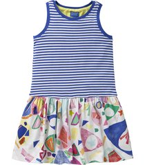 oilily jersey jurkje met blauwe duo print in zomerse kleuren- wit