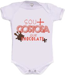 body divertido sou mais gostosa que chocolate camiseteria s.a. branco