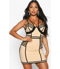 caged bodycon mini dress, nude