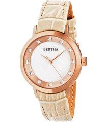 bertha quartz cecelia collection creamleather watch 34mm