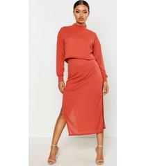 high neck heavyweight ribbed top & midi skirt co-ord, terracotta