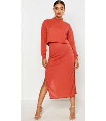 high neck ribbed top & midi skirt co-ord set, terracotta
