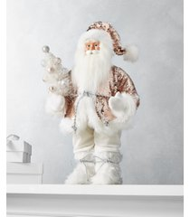"""holiday lane dreamland 18""""h standing santa with rosegold sequin coat, created for macy's"""