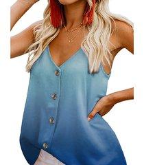 camisa sin mangas con cuello en v y botones en el frente de ombre