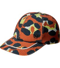 maison michel tiger leopard-print cap - orange