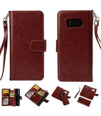 galaxy s8 plus wallet,xyx [brown 9 card slot][detachable wallet folio][2in1 desi