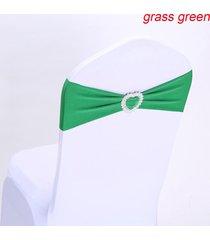 presidente 10pcs la silla del estiramiento elástico spandex banda banda del corazón hebilla de decoración de la boda - verde