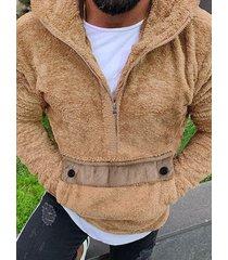 incerun hombres otoño jersey de manga larga con media cremallera y esponjoso espesar informal capucha