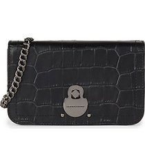 cavalcade croc-embossed leather wallet-on-chain