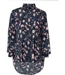 camisa dudalina manga longa plissada estampa floral feminina (estampado floral, 44)