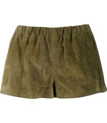 saint laurent suede mini shorts - green