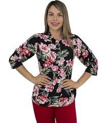 elvira burgos - blusa para dama elegante de moda en chalis - ref 77152109 – negro